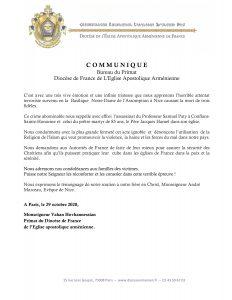 Communiqué du Diocèse de France de L'Eglise Apostolique Arménienne
